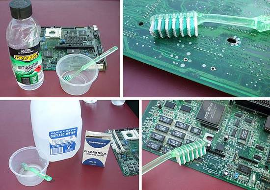 Cleaning PC motherboard. Methylated spirits, toothbrush, biccarbonate soda, distilled water